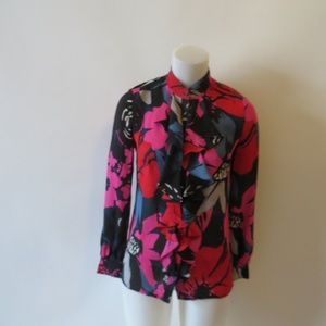 TORY BURCH SILK BLACK/MULTI FLORAL BLOUSE O*